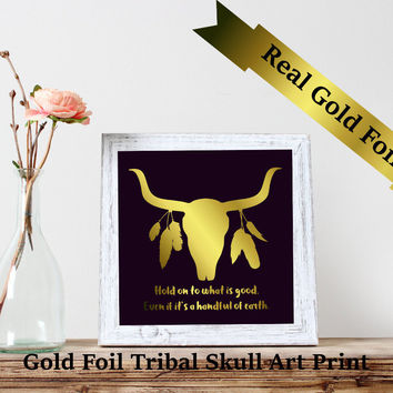 REAL Gold Bull Skull Foil Print, Gold Foil Prints, Tribal art print, Foil Indian Art Print,Gold Foil Prints, Spiritual Gifts Skull wall art