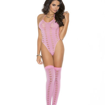 Elegant Moments - Pink Opaque Halter Neck Teddy and Stockings