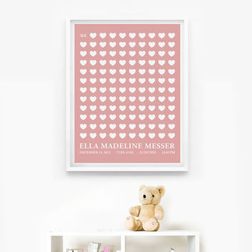 Personalized Birth Announcement, Nursery Birth Print, Baby Gift, We love you so much 8x10 art print
