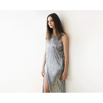 Metallic pleated maxi dress, Silver maxi sleeveless gown, Glamorous party dress