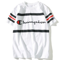 Champion Summer Classic Printed Logo Stripe Short Sleeve Cotton T-Shirt F0456-1 white