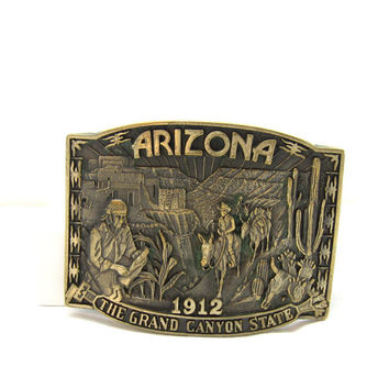 Solid Brass Belt Buckle Arizona 1912 Grand Canyon State Award Design Medals Vintage 1970 Western Wear Fathers Day Mens Accessories