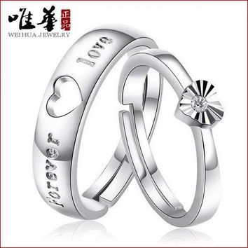 1Pair Silver Lovers Romantic Heart Crystal Couple Rings Her and His Promise Ring 6938941745381