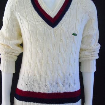 Mens Tennis Sweater Vintage 1960s Izod Lacoste Preppy Cable Knit Size M British Crown