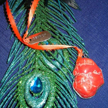 Orange Coral Pendant and Ribbon Bookmark with End Charm