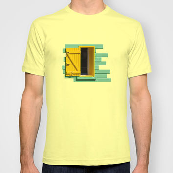 Yellow Window, Green Wall T-shirt by Cinema4design