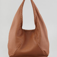 Medium Open Leather Shoulder Hobo Bag, Dark Brown