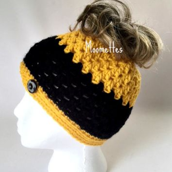 Handmade Messy Bun Hat Yellow Black Stripe Beanie Crochet Wood Button Runner Jogger Ponytail