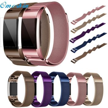 OMESHIN For Fitbit Charge Milanese Stainless Steel Watch Band Strap Bracelet + HD Film For Fitbit Charge 2 Dec6