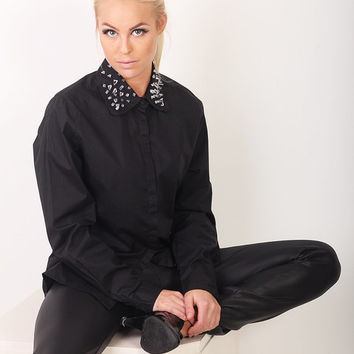Spiked Collar Black Shirt