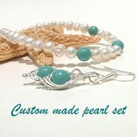 Freshwater Pearl jewelry set - choose a complimenting color personalized necklace - birthstone - bridesmaids jewelry