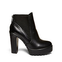 Leather Block Heel Ankle Booties | Steve Madden AMANDAA