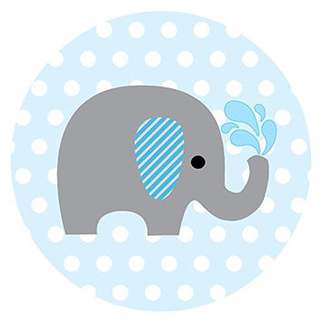 baby boy elephant stickers in blue and polka dot label party favors