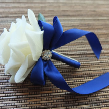 White & Royal Blue Boutonniere, White Rose with Royal Blue ribbon and rhinestone accent