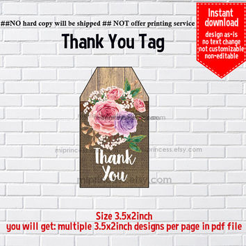 Instant Download, High Tea gift tag, Rustic Floral Burlap wood #1163 Thank you TAG, 3.5x2inch printable, non-editable NOT CUSTOMIZABLE