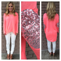 Neon Coral SilverShine Long Sleeve Sweater Top