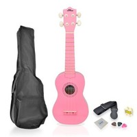 Pyle-Pro PGAKT10PK Soprano Ukulele Mini Guitar Starter Package All Ages - Pink