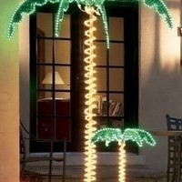 Outdoor Lighted Palm Tree - 7' Holographic Rope Light Decoration for Indoor and Outdoor Use