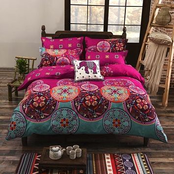 Juwenin Home Pink Bohemian Oriental Mandala Bedding Quilt Duvet Cover Set Single Queen King