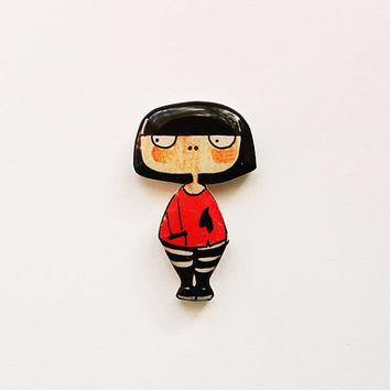 Final sale 20% + FREE SHIPPING Girly jewelry Brooch pin for girls Teen Girl Brunette, clay girl