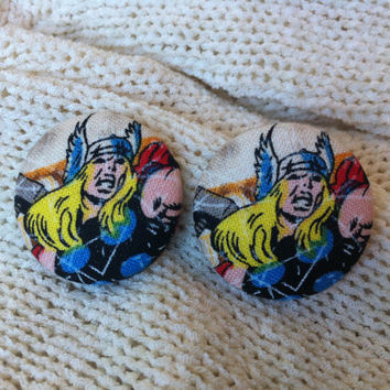 Thor Fabric Button Earrings, Covered Button Earrings, Superhero Earrings, Cosplay, Comic Con Earrings