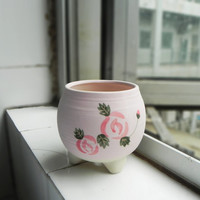 Hand painted pink planter - pottery planter with legs - red rose pot home decor - for succulent cactus herbs indoor plants container