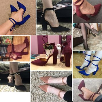 6 Colors Pointed Strappy Pumps