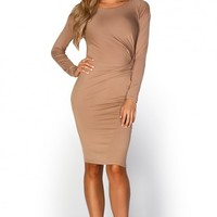 Mariella Tan Nude Long Sleeve Draped Jersey Dress