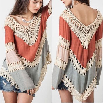 New Womens Long Sleeve Lace Knitwear Pullover Crochet Sweater Top Blouse T-shirt [10292002183]