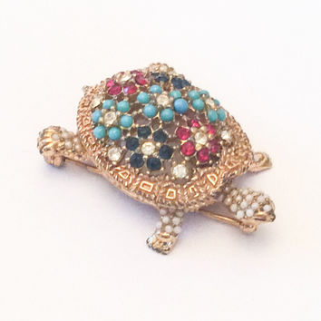 Turquoise Rhinestone Turtle, Ciner Pin or Brooch Vintage Jewelry