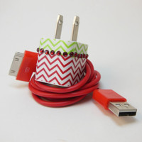 iPhone Charger Decorated with Red Chevron and by PersonalPower