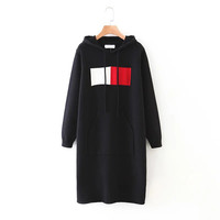 Black Patchwork Hooded Knit Dress