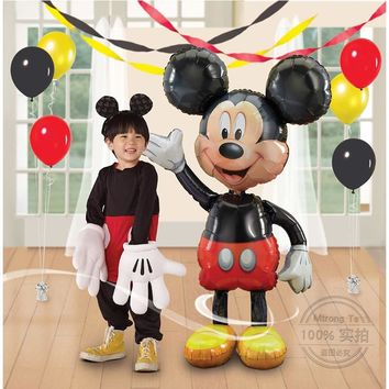 Mtrong Te 2pcs  Mickey Mouse Aluminum balloons Birthday Party decoration Red bowknot minnie Classic Toys Mickey  party supplies