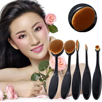 5Pcs Toothbrush Shape Oval Makeup Foundation Brush Set Powder Brush Kit