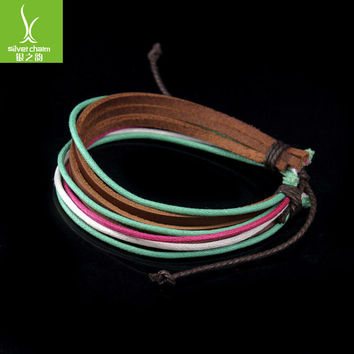 Free Fast Shipping Wrap Braided Bracelet Hemp Rope and Cow Leather for Men and Women Fashion Man Jewelry PI0243