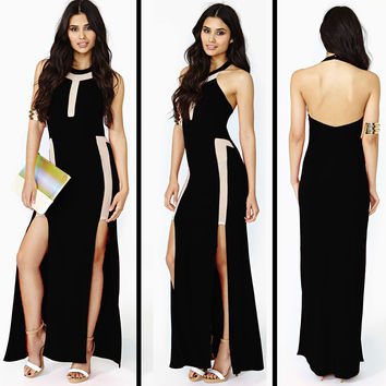 Black And Cream Halter Neck Backless Bodycon Maxi Dress With Double Slit