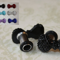 Crystal Bow stainless steel plugs for gauged stretched ears Size: 4g, 2g, 0g