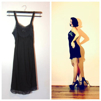 1940s Miss Swank Black Slip Lingerie Nightgown Size 32 Short Black Sexy Pin Up Girl Burlesque Slip