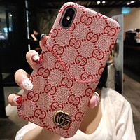 GUCCI Tide brand card package iphone7plus mobile phone shell 6s leather protective cover Pink