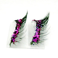 Natural Purple & Magenta Glitter Faux Lashes