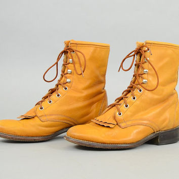 80's Lace-Up LEATHER Laredo Boots US 8