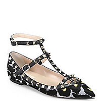 Valentino - Rockstud Leopard-Print Calf Hair Cage Flats - Saks Fifth Avenue Mobile