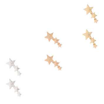 Mixed Metal Shooting Star Stud Earrings - 3 Pack