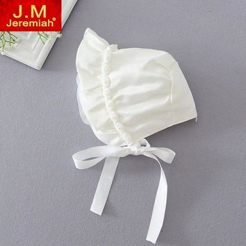 Newborn Baby Girls Cotton Hats Sun Cap Bonnet Infants Toddler Sunhat Beanies 0-8 Month Baby Girl Christening Gown Baptism Hats