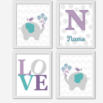 Lavender Baby Nursery Wall Art Purple Teal Elephants Monogram Baby Nursery Prints Baby Animal Decor Safari Baby Girl Nursery Decor 4 Prints