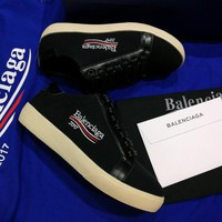 Best Online Sale 2017 New BaLenciaga Flat Shoes Embroidered Linen Shoes - Black