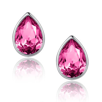 Eternal Love Teardrop Swarovski Elements Crystal Stud Earrings - Pink