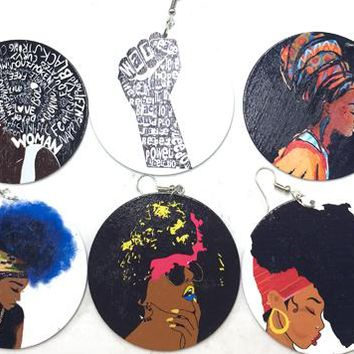 Black Girl Art Earring Collection - 10 Pairs