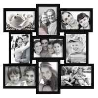 Adeco Decorative Black Wood Wall Hanging Collage Basket-Weave Picture Photo Frame, 9 Openings, 4x6""