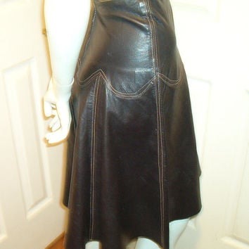 BAGATELLE LEATHER SKIRT Lambskin Black Flair Stitching